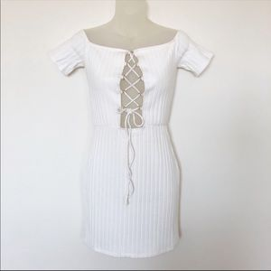 H:ours x Revolve Cream Lace Up Tie Front Dress